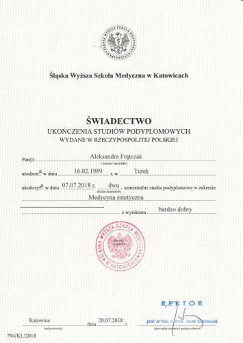 Aleksandra Frątczak certyfikat 1
