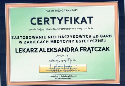 Aleksandra Frątczak certyfikat 10