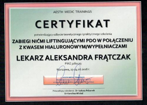 Aleksandra Frątczak certyfikat 11