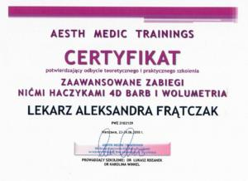 Aleksandra Frątczak certyfikat 12