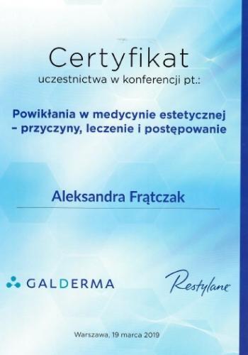 Aleksandra Frątczak certyfikat 13