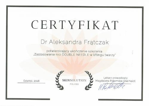 Aleksandra Frątczak certyfikat 17