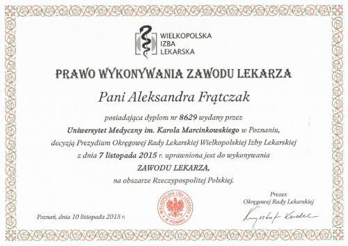 Aleksandra Frątczak certyfikat 2