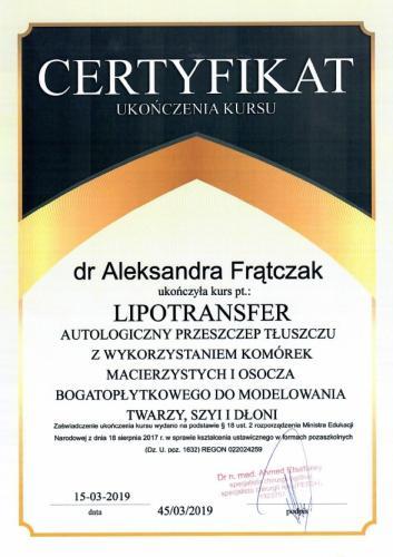 Aleksandra Frątczak certyfikat 20