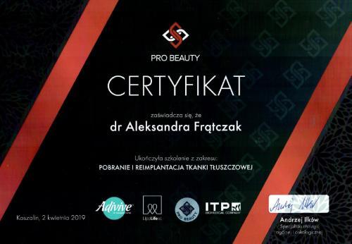 Aleksandra Frątczak certyfikat 21
