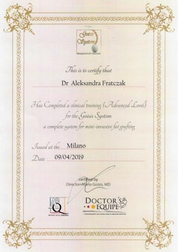 Aleksandra Frątczak certyfikat 22