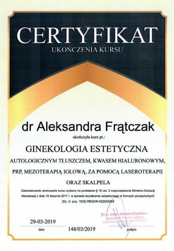 Aleksandra Frątczak certyfikat 23
