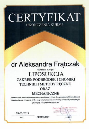 Aleksandra Frątczak certyfikat 24