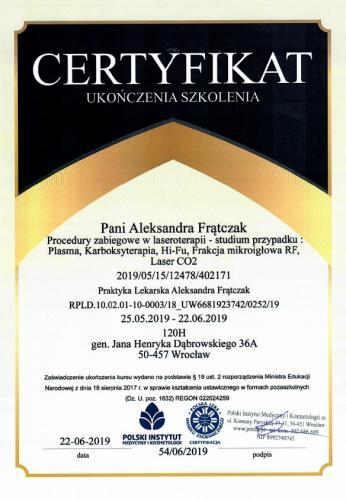 Aleksandra Frątczak certyfikat 26