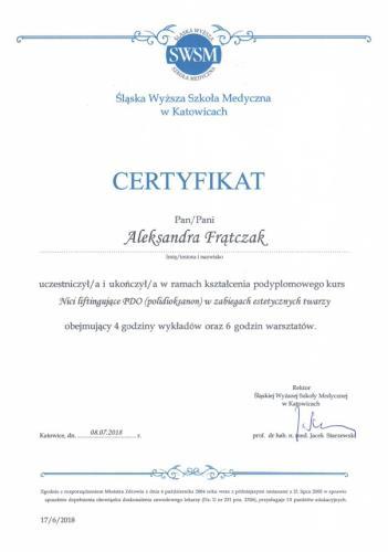 Aleksandra Frątczak certyfikat 27