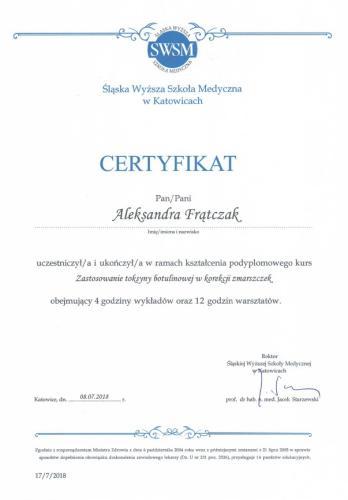 Aleksandra Frątczak certyfikat 28