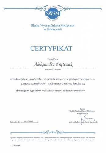 Aleksandra Frątczak certyfikat 29