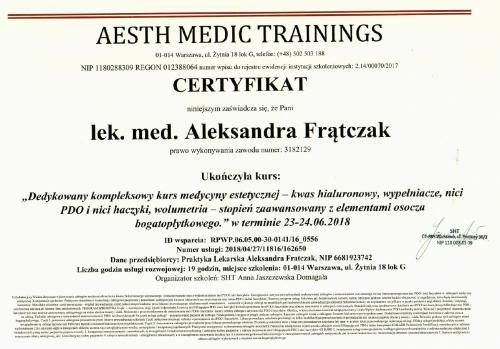 Aleksandra Frątczak certyfikat 3