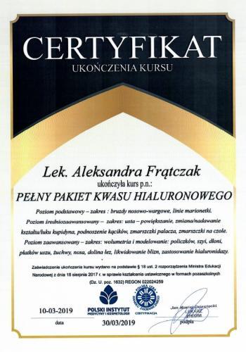 Aleksandra Frątczak certyfikat 4