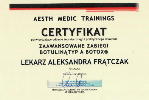Aleksandra Frątczak certyfikat 5