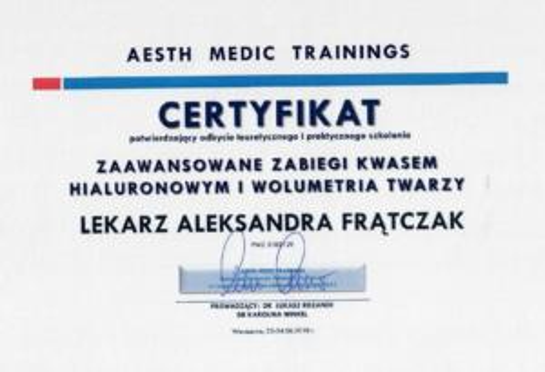 Aleksandra Frątczak certyfikat 6