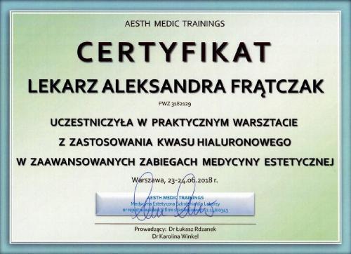 Aleksandra Frątczak certyfikat 7