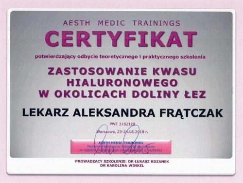 Aleksandra Frątczak certyfikat 8