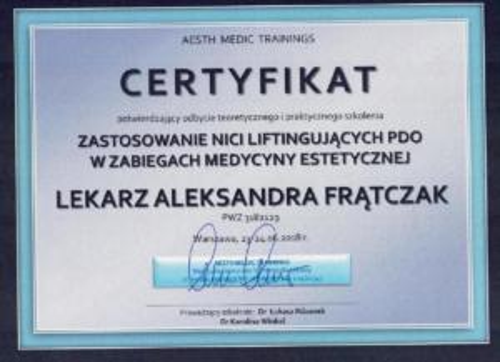 Aleksandra Frątczak certyfikat 9