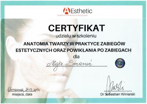 Maja Smarun certyfikat 2