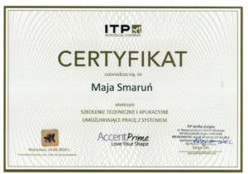 Maja Smarun certyfikat 3