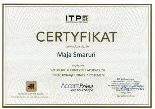 Maja Smarun certyfikat 4