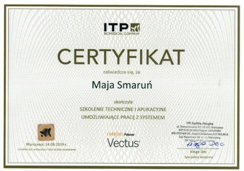 Maja Smarun certyfikat 5
