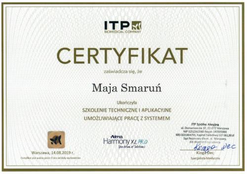 Maja Smarun certyfikat 6