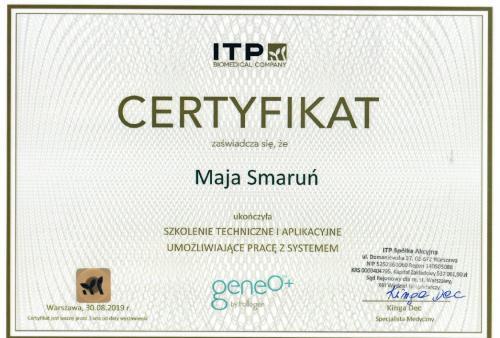 Maja Smarun certyfikat 7