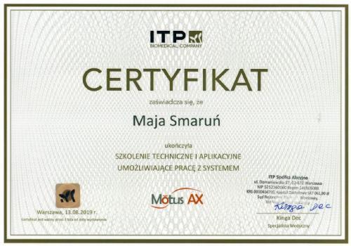 Maja Smarun certyfikat 8