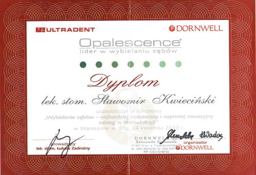 FabDent Sławomir Kwieciński certyfikat 1