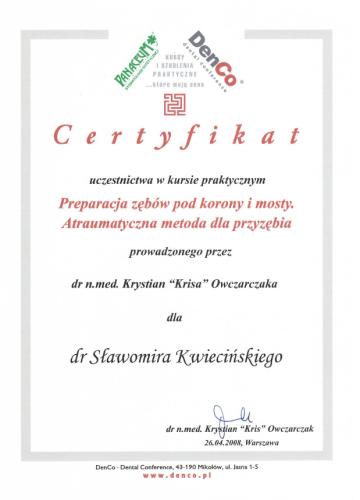 FabDent Sławomir Kwieciński certyfikat 2
