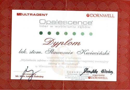 FabDent Sławomir Kwieciński certyfikat 5