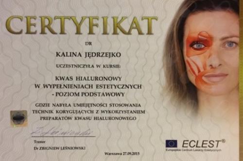 Kalina Jedrzejko certyfikat 2