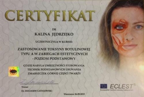 Kalina Jedrzejko certyfikat 3