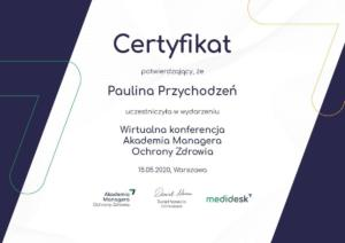 Paulina Przychodzen certyfikat