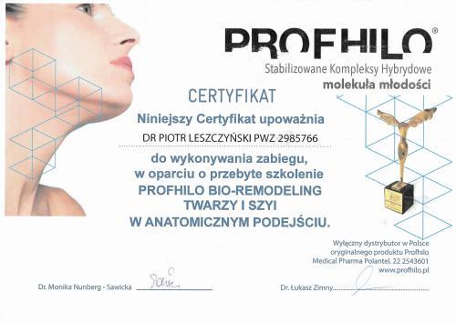 Piotr Leszczynski certyfikat Profhilo