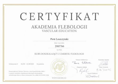 Piotr Leszczynski certyfikat flobologia