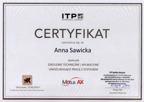 certyfikat Motus Anna Sawicka