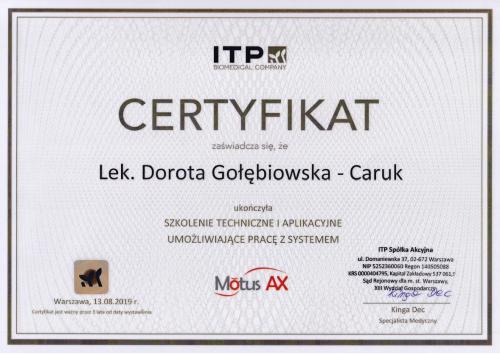certyfikat Motus Dorota Golebiowska Caruk