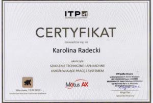certyfikat Motus Karolina Radecki