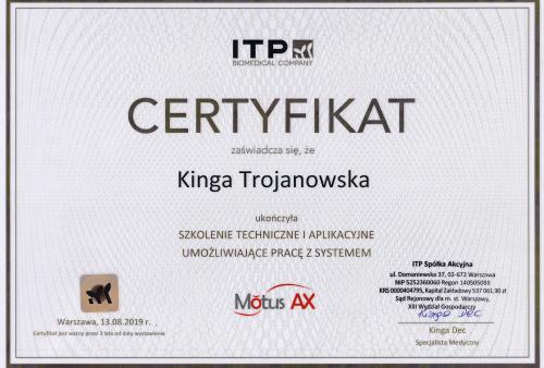 certyfikat Motus Kinga Trojanowska