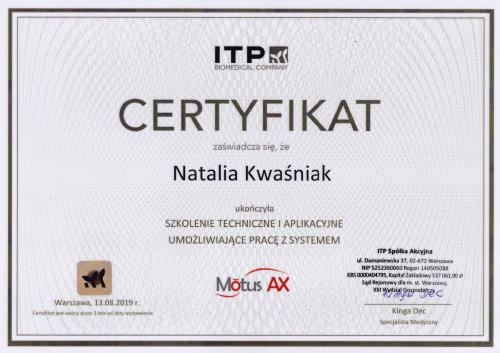 certyfikat Motus Natalia Kwasniak