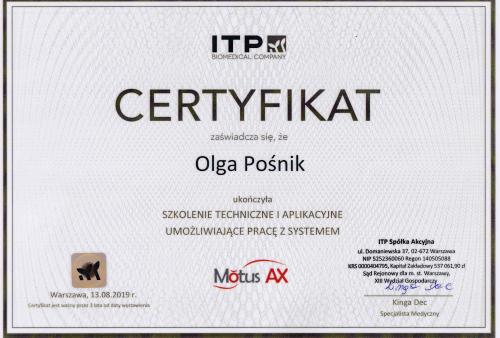 certyfikat Motus Olga Posnik