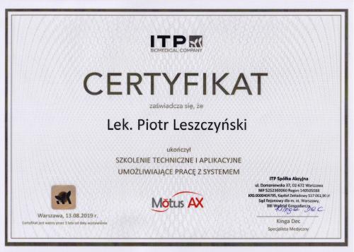 certyfikat Motus Piotr Leszczynski