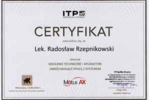 certyfikat Motus Radoslaw Rzepnikowski