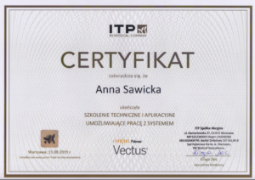 certyfikat Vectus Anna Sawicka