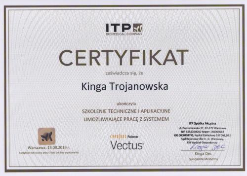 certyfikat Vectus Kinga Trojanowska